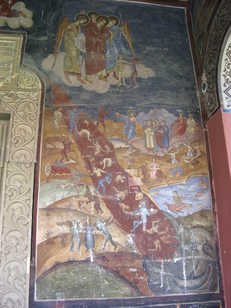 Fresca din pridvorul bisericii vechi - Judecata de Apoi